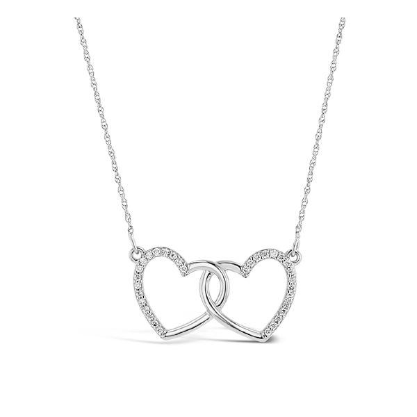 14k White Gold Heart Pendant 1/8 ct. tw.