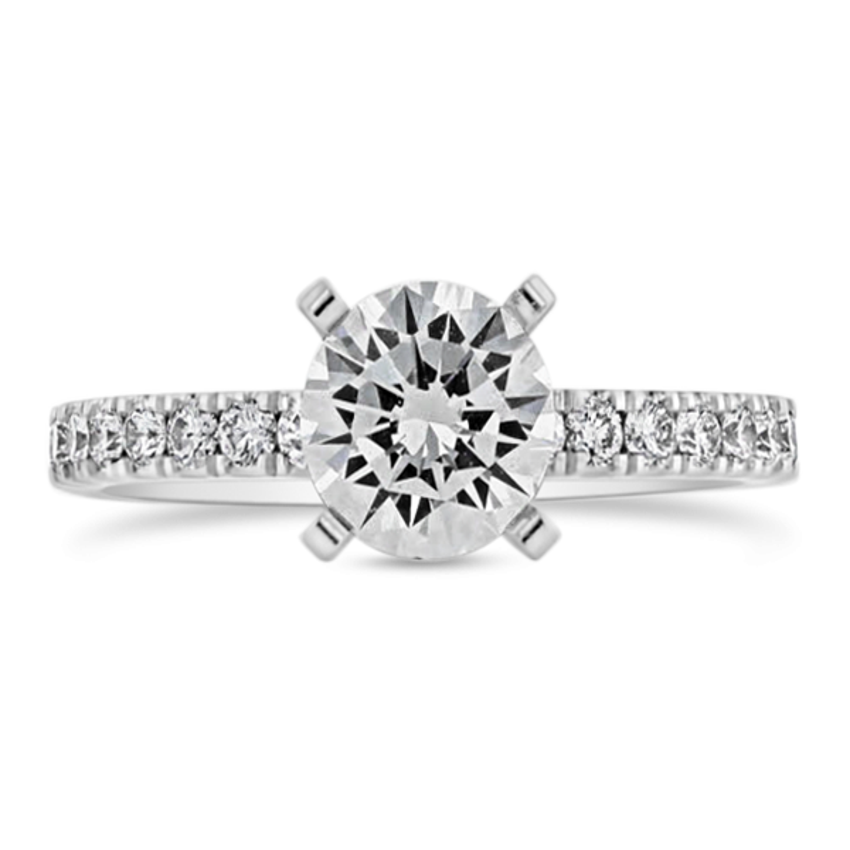14k White Gold Diamond Engagement Ring Setting 1/3 ct. tw.
