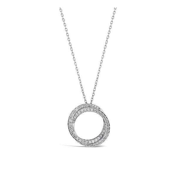 14k White Gold Circle Swirl Pendant 1/3 ct. tw.