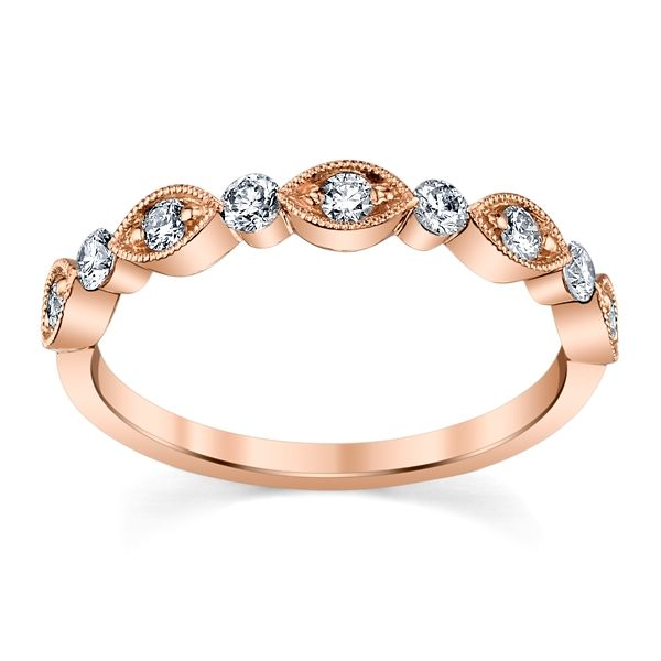 Henri Daussi 14k Rose Gold Diamond Wedding Band 1/3 ct. tw.