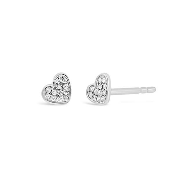 14k White Gold Heart Earrings .05 ct. tw.