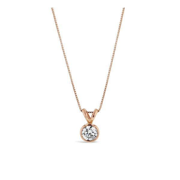14k Rose Gold Bezel Set Diamond Pendant 1/2 ct. tw.