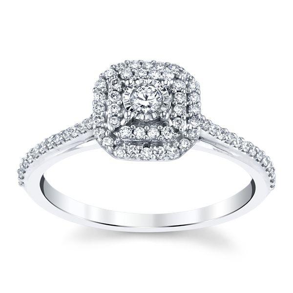 14k White Gold Diamond Engagement Ring 1/3 ct. tw.
