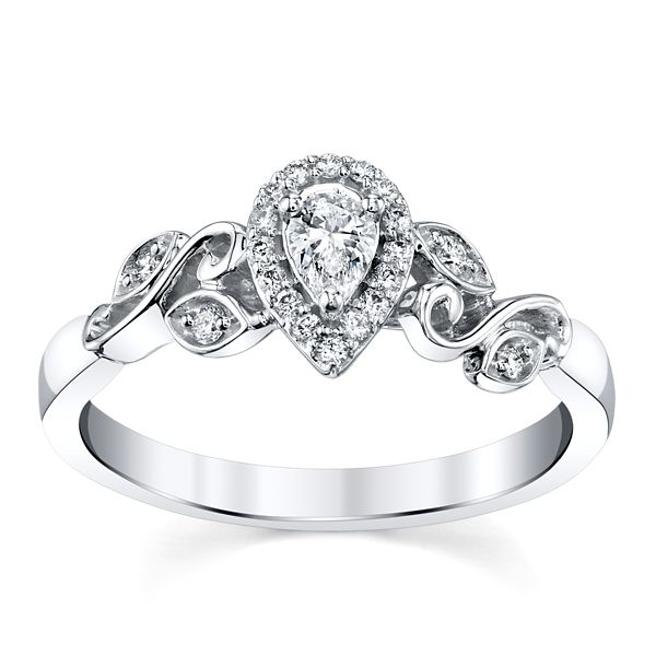 14k White Gold Diamond Engagement Ring 1/4 ct. tw.
