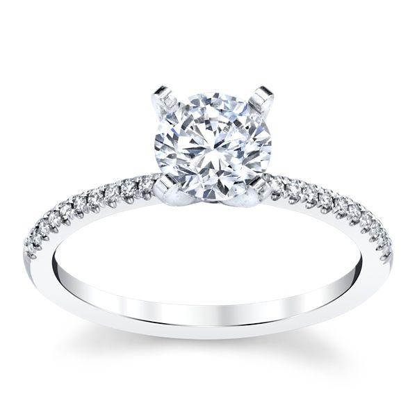 14k White Gold Diamond Engagement Ring Setting 1/10 ct. tw.