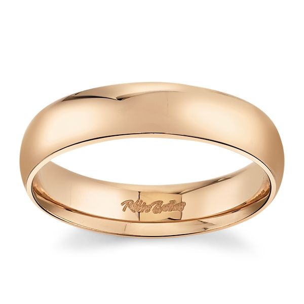 14k Rose Gold 5 mm Wedding Band