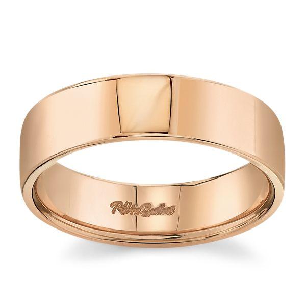 14k Rose Gold 6 mm Wedding Band