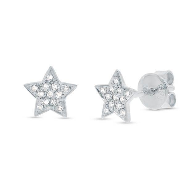 Shy Creation 14k White Gold Star Diamond Earrings .07 ct. tw.
