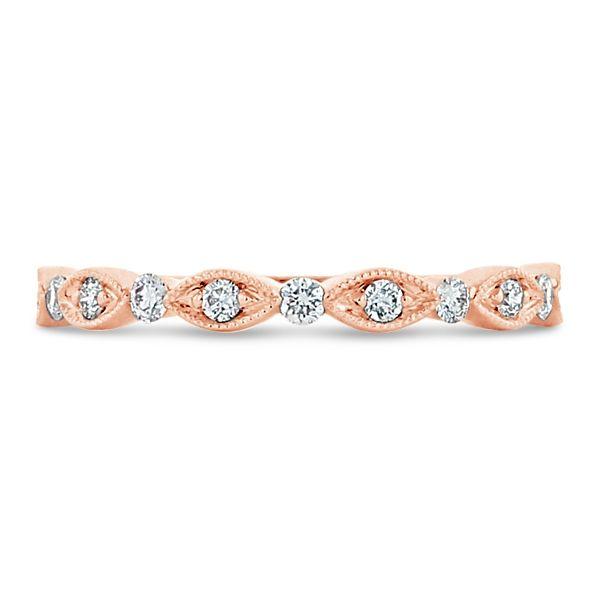 Henri Daussi 14k Rose Gold Diamond Wedding Band 1/6 ct. tw.