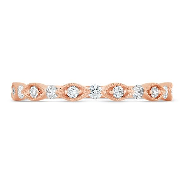 Henri Daussi 14k Rose Gold Diamond Wedding Band 1/6 ct. tw.