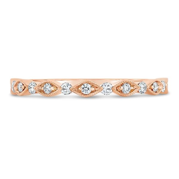 Henri Daussi 18k Rose Gold Diamond Wedding Band 1/5 ct. tw.
