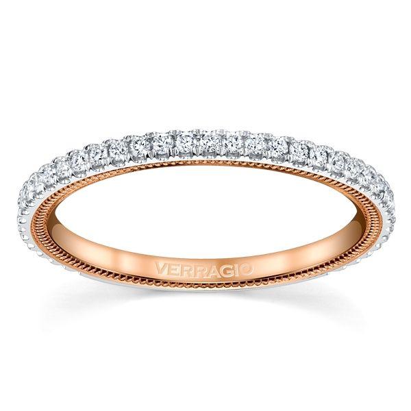 Verragio 14k White Gold and 14k Rose Gold Diamond Wedding Band 1/4 ct. tw.