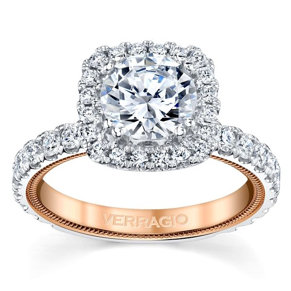 Verragio 14k White Gold and 14k Rose Gold Diamond Engagement Ring Setting 1 ct. tw.