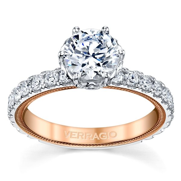 Verragio 14k White Gold and 14k Rose Gold Diamond Engagement Ring Setting 7/8 ct. tw.