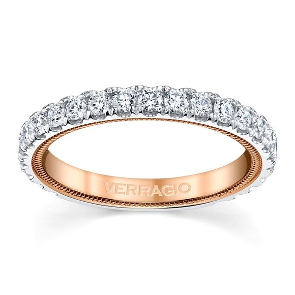 Verragio 14k White Gold and 14k Rose Gold Diamond Wedding Band 3/4 ct. tw.