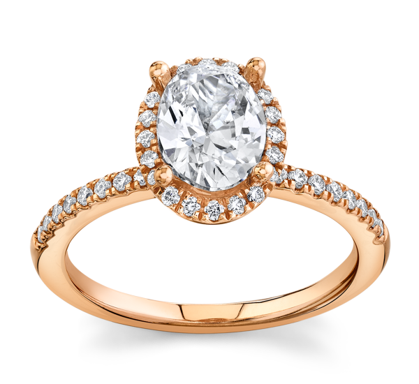 Poem 14k Rose Gold Diamond Engagement Ring Setting 1/4 ct. tw.