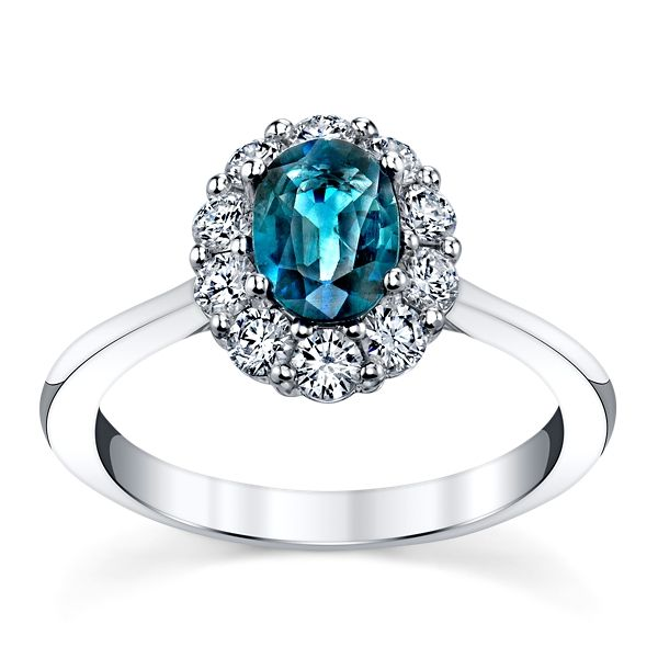 Blossom Bridal 14k White Gold Teal Sapphire Diamond Engagement Ring 1/2 ct. tw.