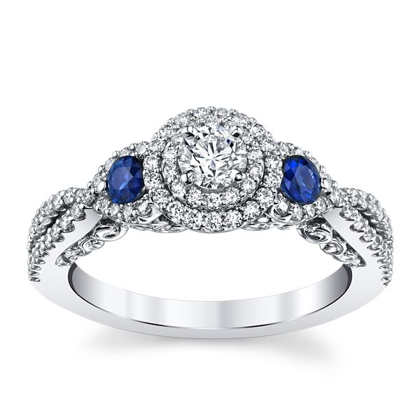 Utwo 14k White Gold Blue Sapphire Diamond Engagement Ring 5/8 ct. tw.