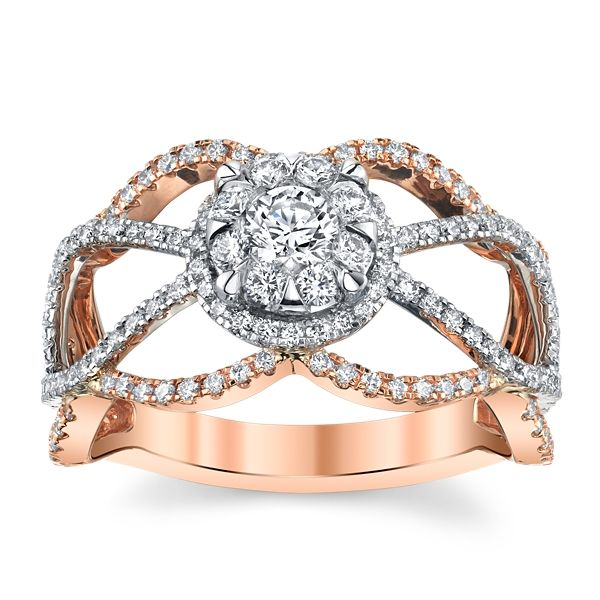 Utwo 14k Rose and 14k White Gold Diamond Engagement Ring 3/4 ct. tw.
