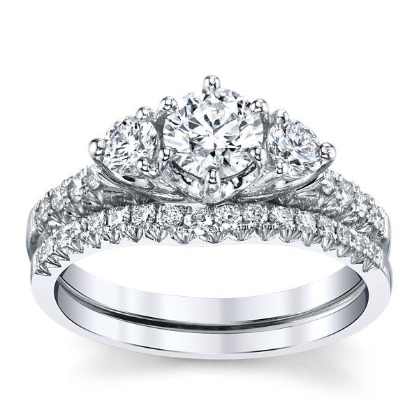 Utwo 14k White Gold Diamond Wedding Set 1 ct. tw.