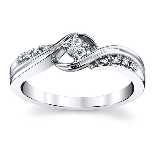 Cherish 10k White Gold Promise Ring 1/10 ct. tw.