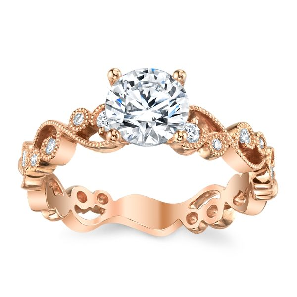 Kirk Kara 18k Rose Gold Diamond Engagement Ring Setting 1/8 ct. tw.