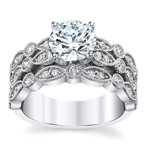 RB Signature 14k White Gold Diamond Engagement Ring Setting 5/8 ct. tw.