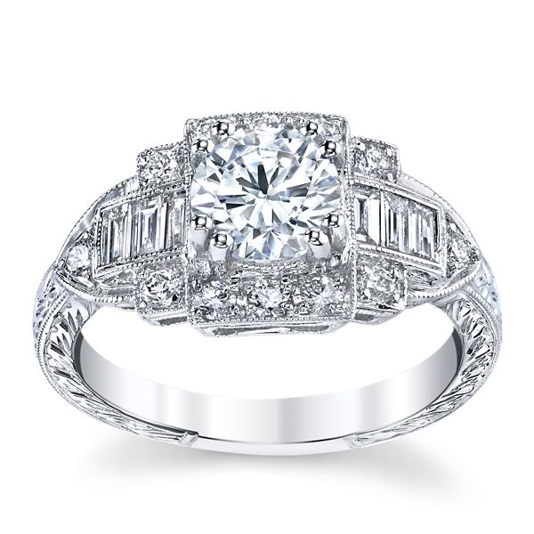 RB Signature 14k White Gold Diamond Engagement Ring Setting 3/8 ct. tw.