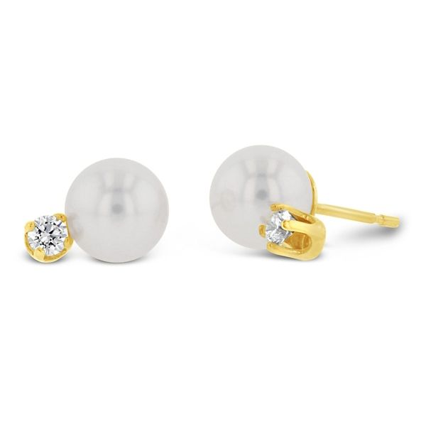 14k Yellow Cultured Pearl Stud Earrings 1/8 ct. tw.