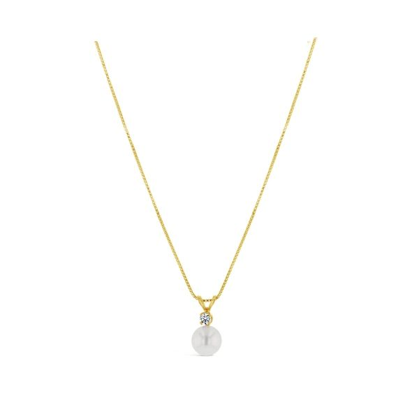 14k Yellow Cultured Pearl Pendant .07 ct. tw.