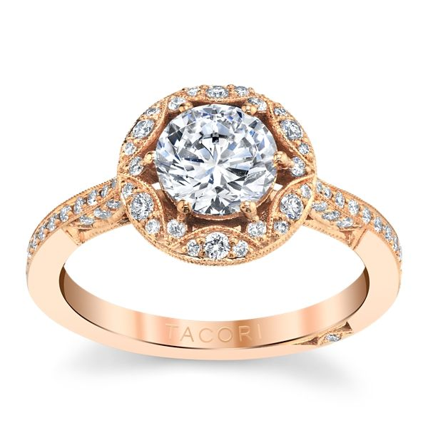 18k Rose Gold Diamond Engagement Ring Setting 1/3 ct. tw.