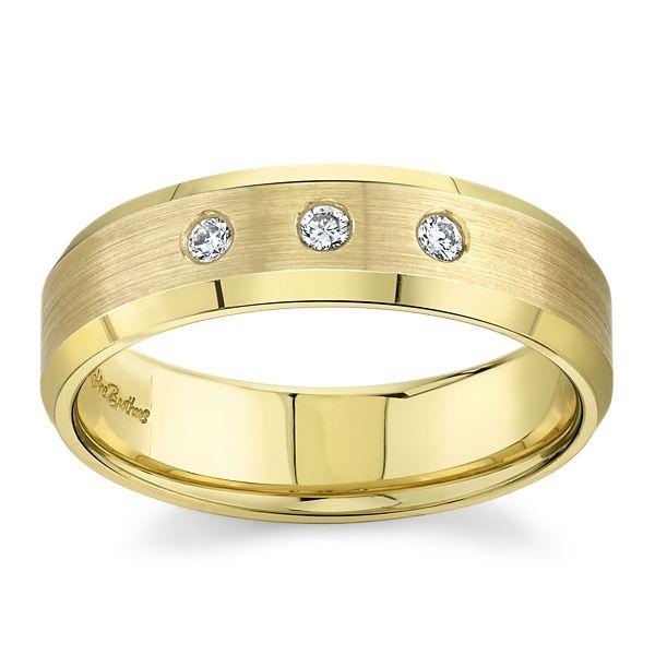 14k Yellow 6 mm Diamond Wedding Band 1/10 ct. tw.