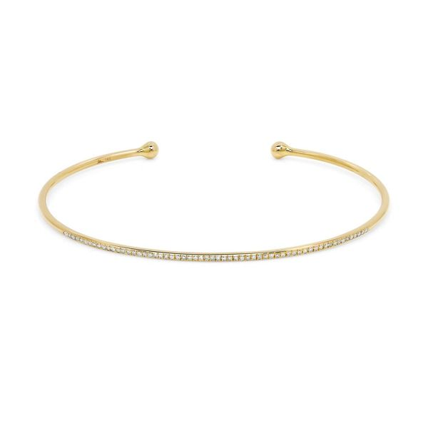 Shy Creation 14k Yellow Gold Cuff Bracelet 1/6 ct. tw.