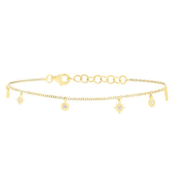 Shy Creation 14k Yellow Gold Charm Bracelet 1/6 ct. tw.