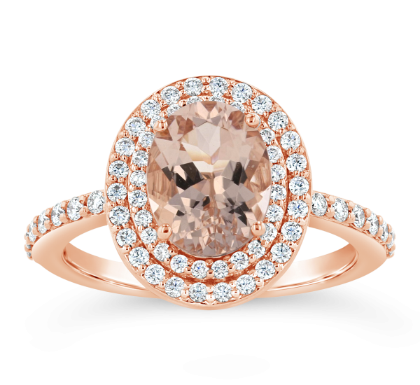 Blossom Bridal 14k Rose Gold Morganite Diamond Engagement Ring 3/8 ct. tw.