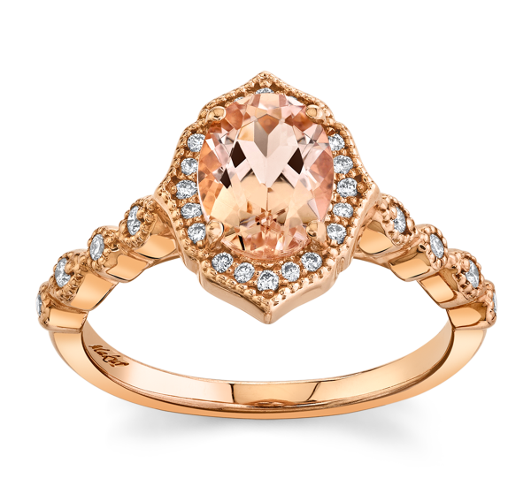 Blossom Bridal 14k Rose Gold Morganite Diamond Engagement Ring 1/6 ct. tw.