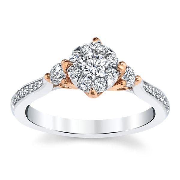 Cherish 14k White Gold and 14k Rose Gold Diamond Engagement Ring 1/2 ct. tw.