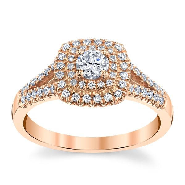 Utwo 14k Rose Gold Diamond Engagement Ring 1/2 ct. tw.