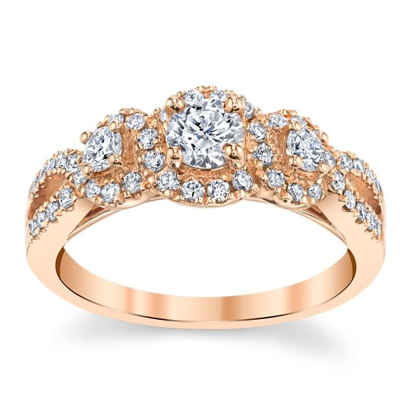 Utwo 14k Rose Gold Diamond Engagement Ring 3/4 ct. tw.