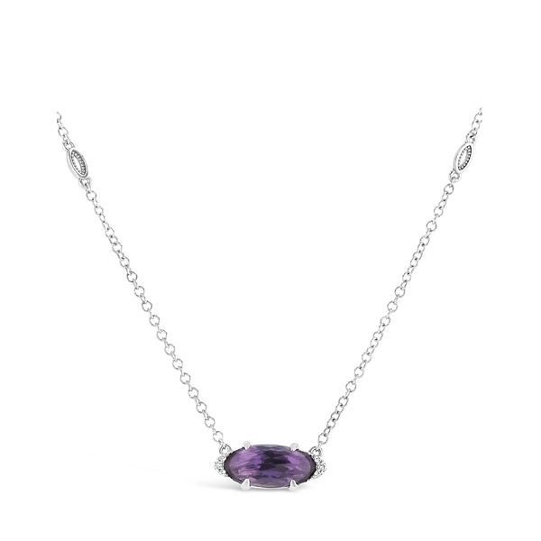Tacori Jewelry Sterling Silver Amethyst Pendant .02 ct. tw.