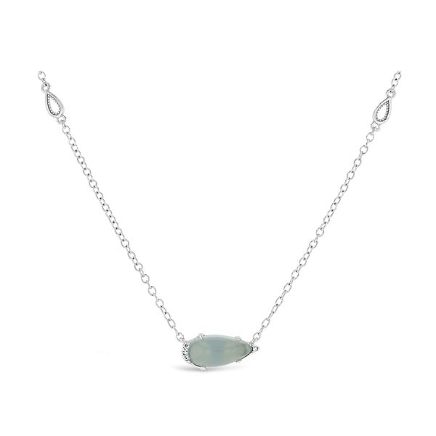 Tacori Jewelry Sterling Silver Sea Green Chalcedony Pendant .03 ct. tw.