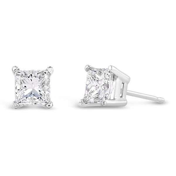 14k White Gold Solitaire Earrings 1 1/3 ct. tw.