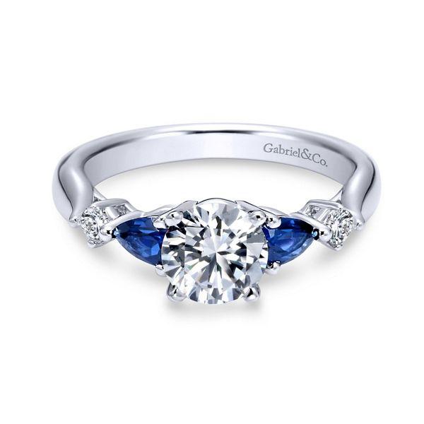Gabriel & Co. 14k White Gold Blue Sapphire Diamond Engagement Ring Setting 1/10 ct. tw.
