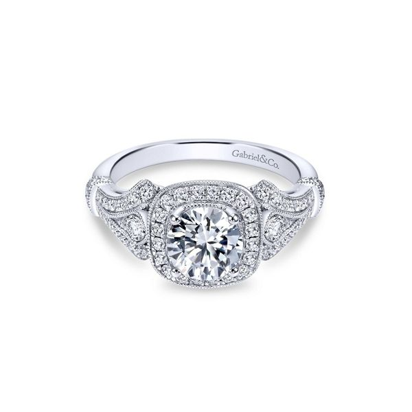 Gabriel & Co. 14k White Gold Diamond Engagement Ring Setting 3/8 ct. tw.