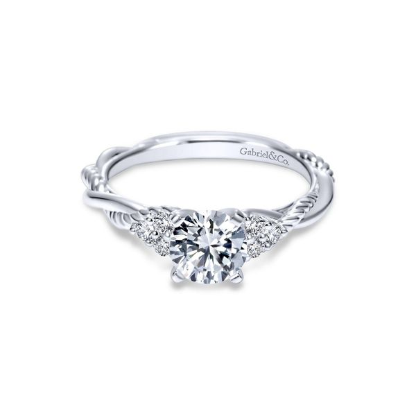 Gabriel & Co. 14k White Gold Diamond Engagement Ring Setting 1/8 ct. tw.
