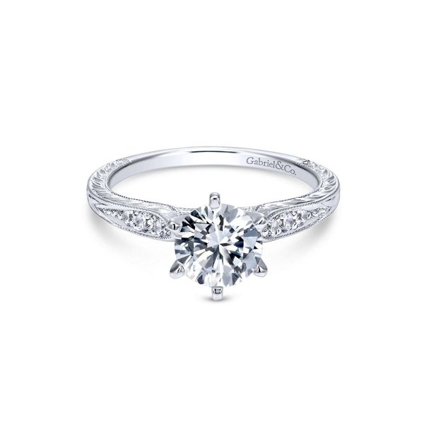 Gabriel & Co. 14k White Gold Diamond Engagement Ring Setting 1/10 ct. tw.