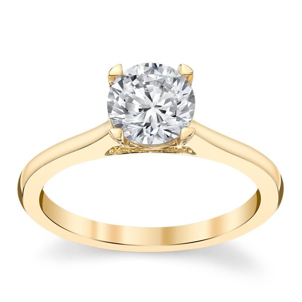 Suns and Roses 14k Yellow Gold Diamond Engagement Ring Setting 1/10 ct. tw.