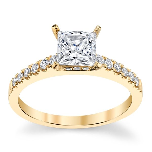 Divine 18k Yellow Gold Diamond Engagement Ring Setting 1/5 ct. tw.