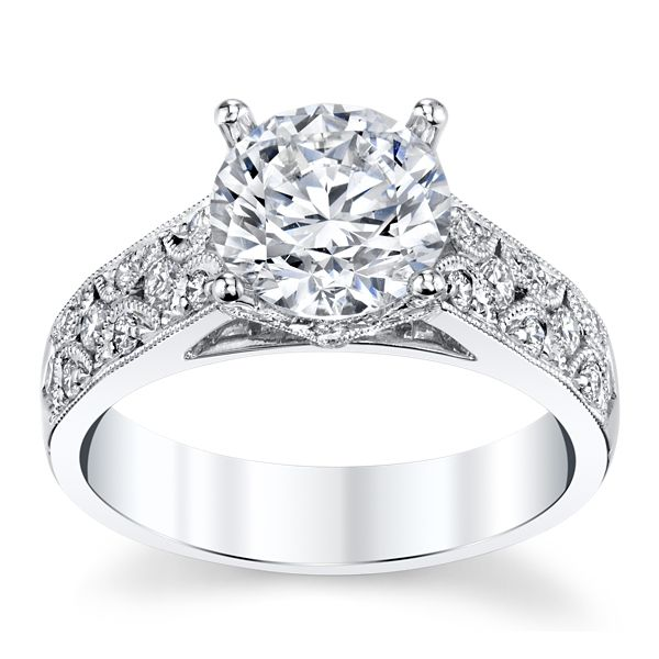 Divine 18k White Gold Diamond Engagement Ring Setting 3/8 ct. tw.