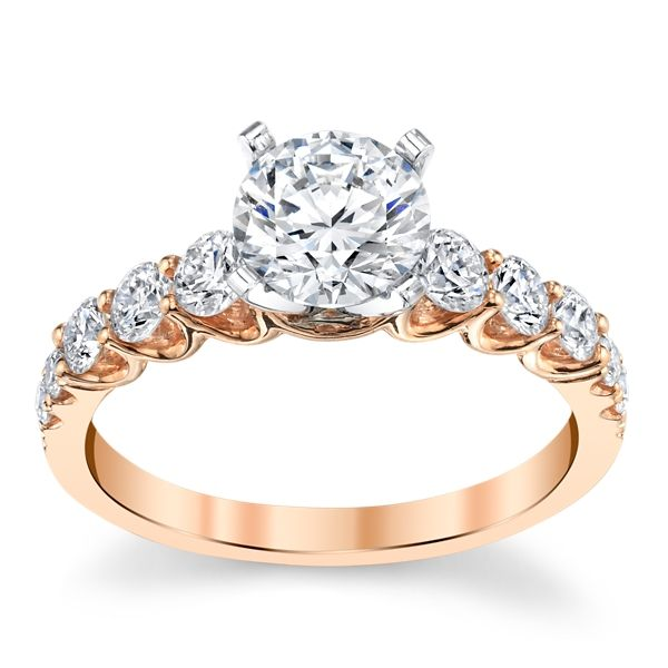 Divine 18k Rose and 18k White Gold Diamond Engagement Ring Setting 5/8 ct. tw.